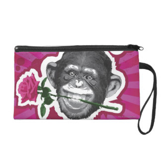 Chimpanzee with a Rose in his Mouth Wristlet Purse