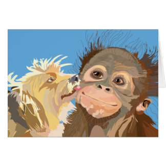 Chimps and Terrier, the Love Connection Card