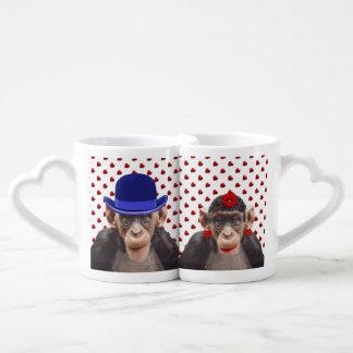 CHIMPS-LOVERS'-MUG COUPLES' COFFEE MUG SET
