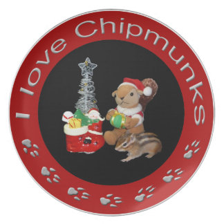 Chimunk Christmas , squirrel . シマリスのクリスマス .  Plate