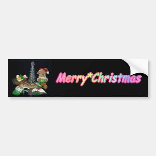 Chimunk's Christmas , squirrel , シマリスのクリスマス Bumper Stickers
