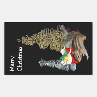 Chimunk's Christmas , squirrel , シマリスのクリスマス Rectangular Sticker