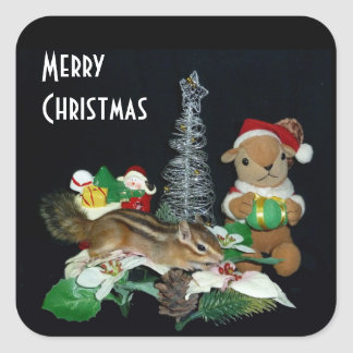 Chimunk's Christmas , squirrel , シマリスのクリスマス Square Sticker