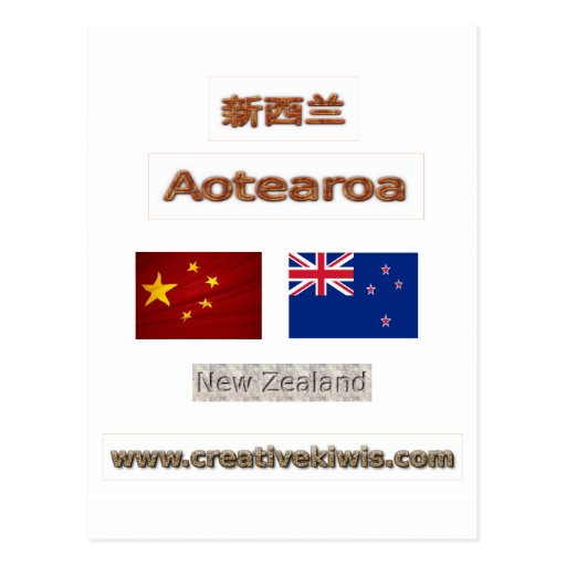 China, 中国, 新西兰 postcard