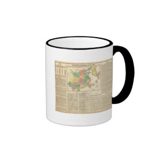 China and Japan Atlas Map Ringer Coffee Mug