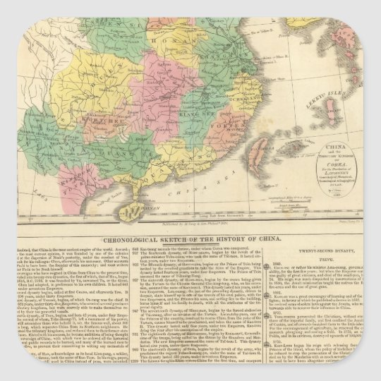 China and Japan Atlas Map Square Sticker