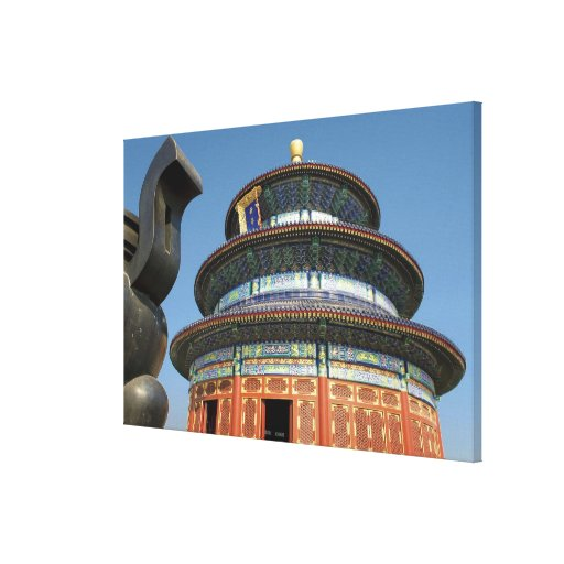 China, Beijing, Temple of Heaven, Chinese Urn in Stretched Canvas Prints