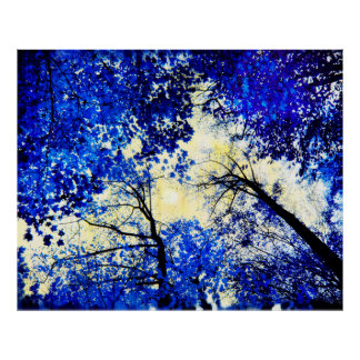 China blue, Nature photography, blue trees, moon Poster