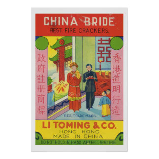 China Bride Vintage Chinese Firecracker Poster