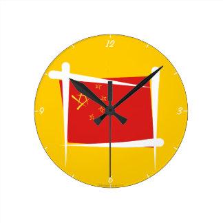 China Brush Flag Round Wall Clocks