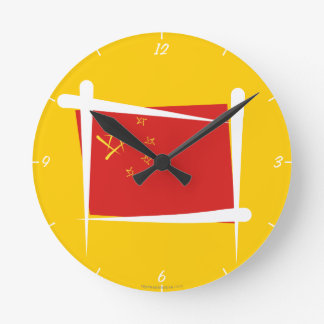 China Brush Flag Round Clock
