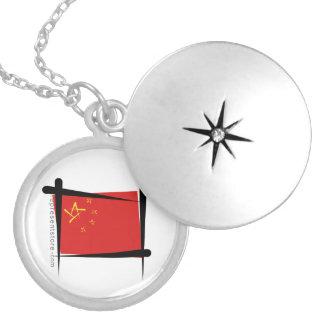 China Brush Flag Round Locket Necklace