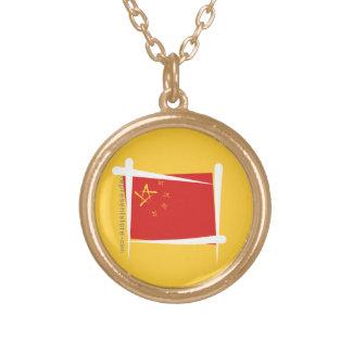 China Brush Flag Round Pendant Necklace