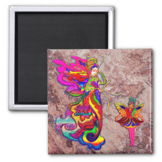 China Butterfly Woman 2 Inch Square Magnet