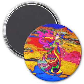 China Butterfly Woman 3 Inch Round Magnet