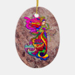 China Butterfly Woman Double-Sided Oval Ceramic Christmas Ornament