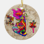 China Butterfly Woman Double-Sided Ceramic Round Christmas Ornament