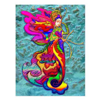 China Butterfly Woman Postcard
