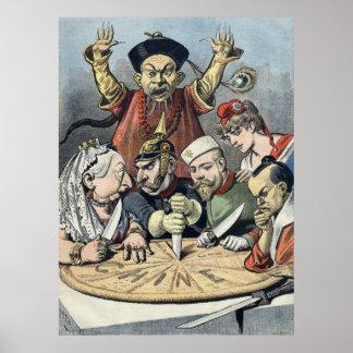 China~Cake del dibujo animado político 1898 del ~F Póster