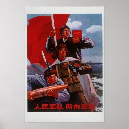 China Chinese Cold War Republic Red Propaganda Poster