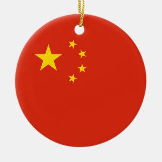 China – Chinese Flag Double-Sided Ceramic Round Christmas Ornament