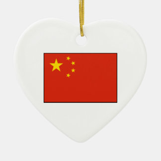 China – Chinese Flag Double-Sided Heart Ceramic Christmas Ornament