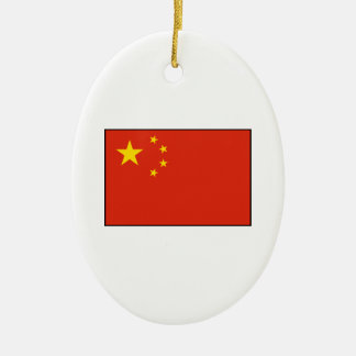 China – Chinese Flag Double-Sided Oval Ceramic Christmas Ornament