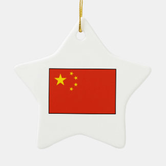 China – Chinese Flag Double-Sided Star Ceramic Christmas Ornament