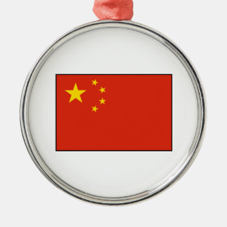 China – Chinese Flag Round Metal Christmas Ornament