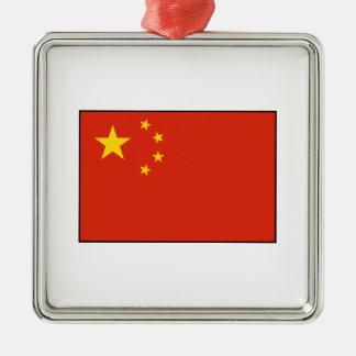 China – Chinese Flag Square Metal Christmas Ornament