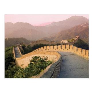 China, condado de Huairou, puesta del sol sobre Tarjetas Postales