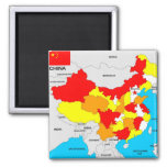 china country political map flag 2 inch square magnet