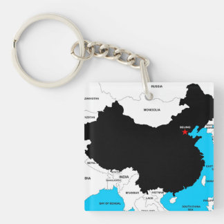 china country political map flag keychain