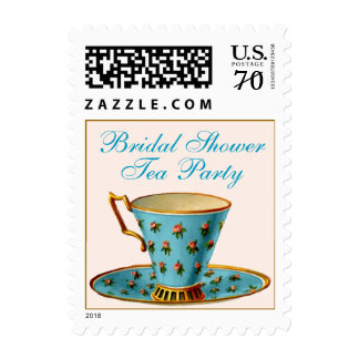 China Cup Tea Party Bridal Shower Postage Stamp