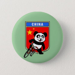 China Cycling Panda Round Button