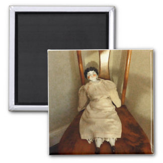 China Doll on Chair 2 Inch Square Magnet