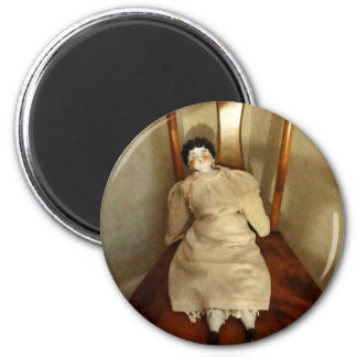 China Doll on Chair 2 Inch Round Magnet