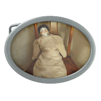 China Doll on Chair Oval Belt Buckle