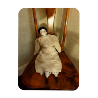 China Doll on Chair Rectangular Photo Magnet