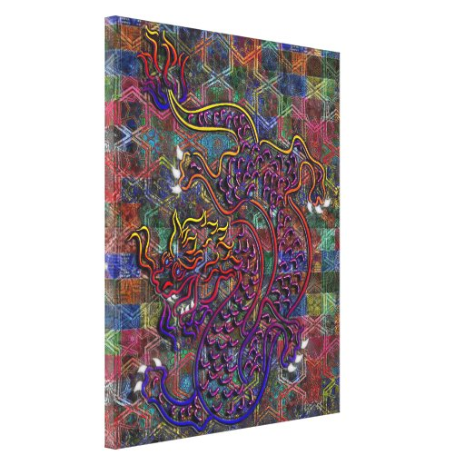 China Dragon Abstract Quilt Canvas Prints