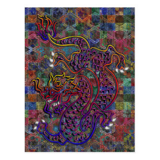 China Dragon Abstract Quilt Postcard