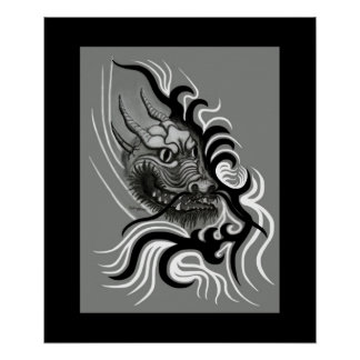 China dragon in Tattoo styles Poster