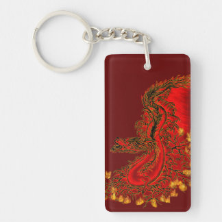 China Dragon red and gold design Double-Sided Rectangular Acrylic Keychain