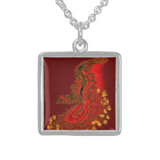 China Dragon red and gold design Sterling Silver Necklace