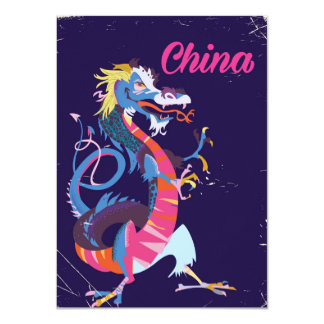 China Dragon vintage style travel poster Card