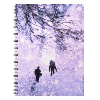 China en invierno - familia en el parque cuadernos