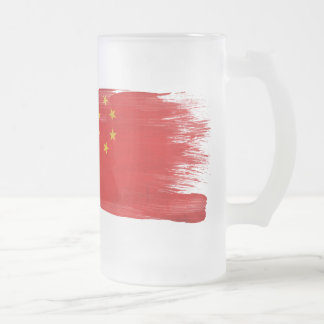 China Flag Frosted Glass Beer Mug