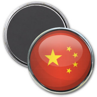 China Flag Glass Ball 3 Inch Round Magnet