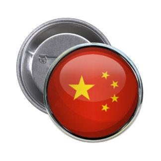 China Flag Glass Ball Pinback Button