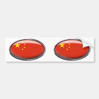 China Flag Glass Oval Bumper Sticker